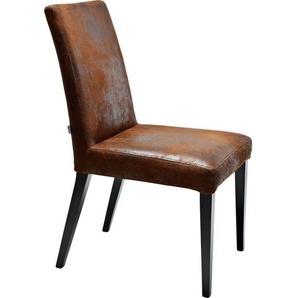 Kare-Design Stuhl Lederlook Braun , Textil , Buche , massiv , Vintage , 45x90x58 cm