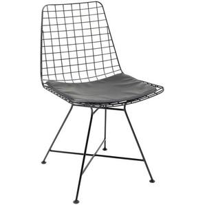 Kare-Design Stuhl Lederlook Schwarz , Metall, Textil , 47.5x85.5x54 cm