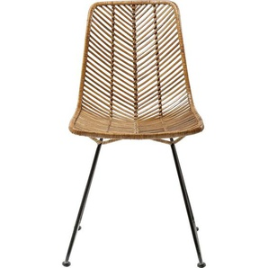 Kare-Design Stuhl Rattan Schwarz , Holz, Metall , 44.45x85.73x54.61 cm