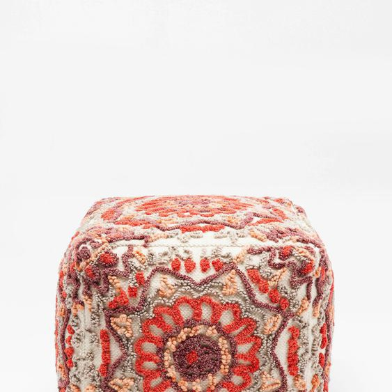 KARE Sitzwürfel Arabian Flower Reddish Baumwolle, Maße (B/T/H): 50/50/50 cm rot Sitzkissen Hocker