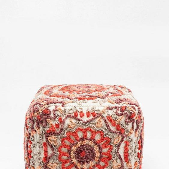 KARE Sitzwürfel »Arabian Flower Reddish«, handgefertigt (getuftet), rot