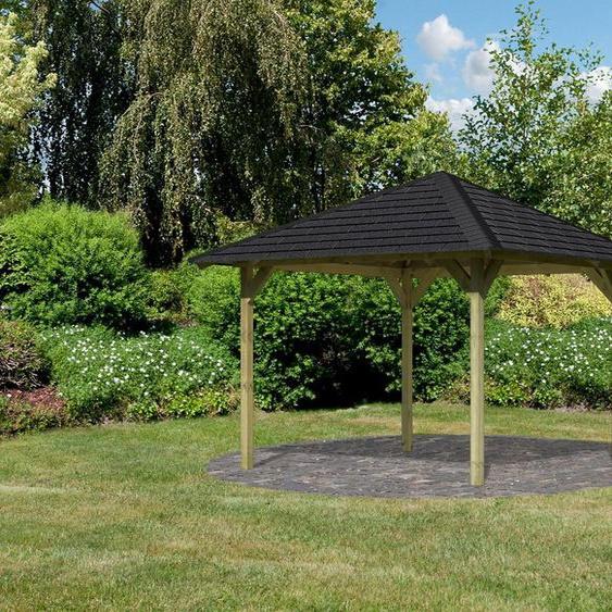 Karibu Pavillon »Cordoba«, (Set), BxTxH: 357x357x297 cm, mit schwarzen Dachschindeln