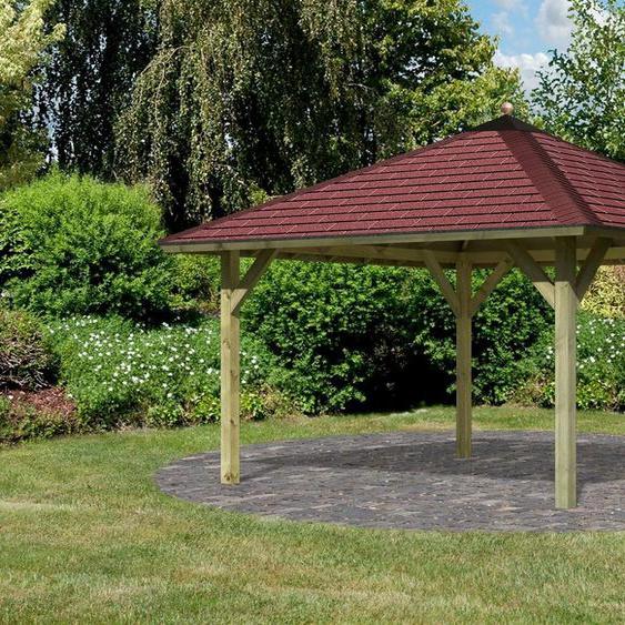 Karibu Pavillon »Holm 1«, (Set), BxT: 431x431 cm, inkl. Dachhaube, Dachschindeln und Pfostenanker