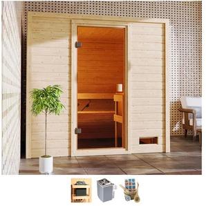 Karibu Sauna Ricky, 4,5-kW-Ofen mit int. Steuerung Einheitsgröße beige Saunen Bad Sanitär
