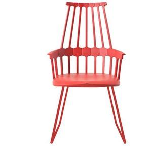 Kartell - Comback Stuhl mit Kufen - orangerot - indoor