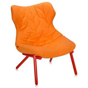 Kartell - Foliage Sessel - Gestell rot - Wollstoff orange