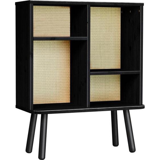 Regal »Kyabi«, 30x100x80 cm (BxHxT), FSC®-zertifiziert, Karup Design, schwarz, Material Kiefer, Holzwerkstoff, Massivholz