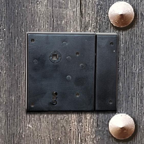 Kastenschloss Antik Eisen, links Dorn 60 Schloss+Schlüssel Eisenschloß Retro