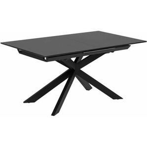 Kave Home - Atminda ausziehbarer Tisch 160 (210) x 90 cm aus Glas und schwarzen Stahlbeinen - Black
