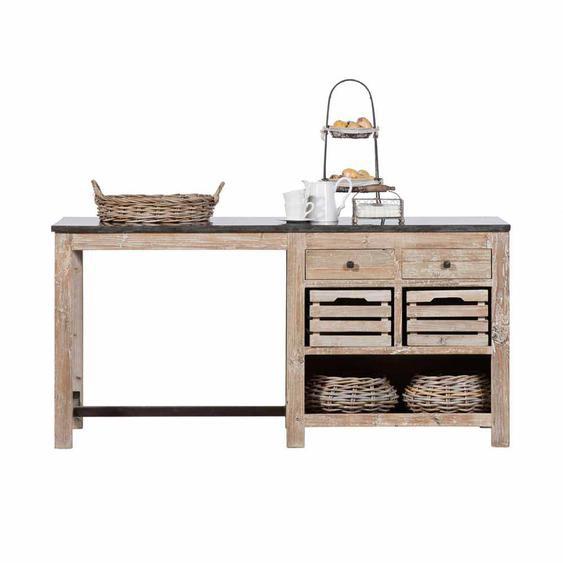 Küchen Arbeitstisch aus Kiefer Recyclingholz Landhaus rustikal