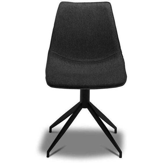 Küchen Stühle in Dunkelgrau Webstoff Metallgestell (2er Set)