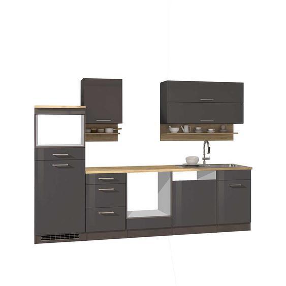 Küchenblock in Grau hochglänzend 280 cm breit (9-teilig)