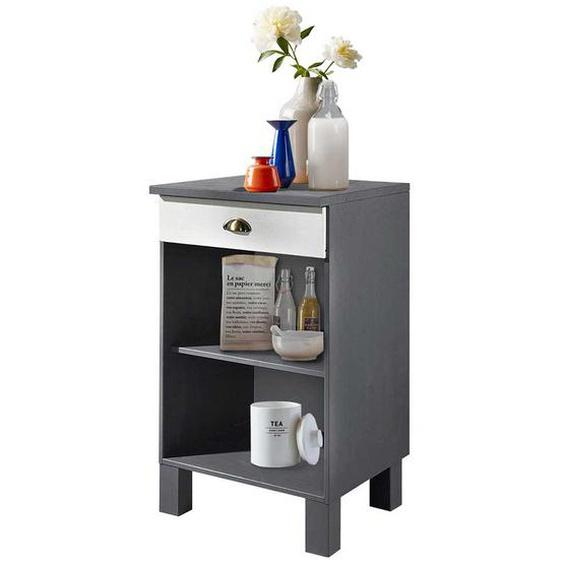 Küchenschrank in Grau und Weiß offenen Fächern