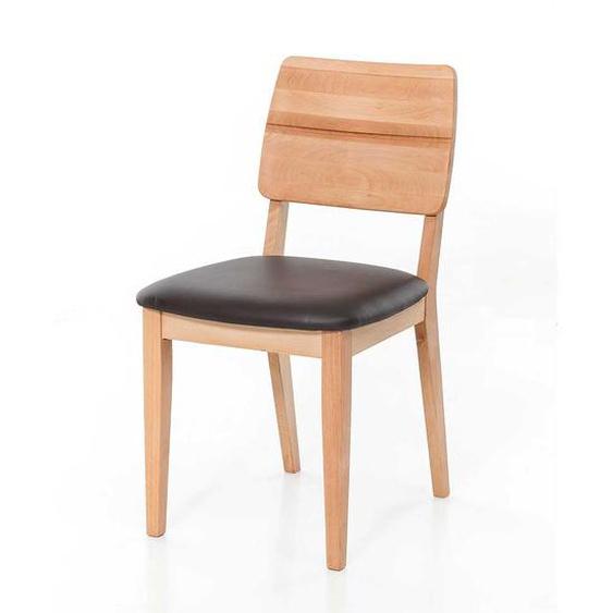 Küchenstühle aus Kernbuche Massivholz Leder in Dunkelbraun (2er Set)