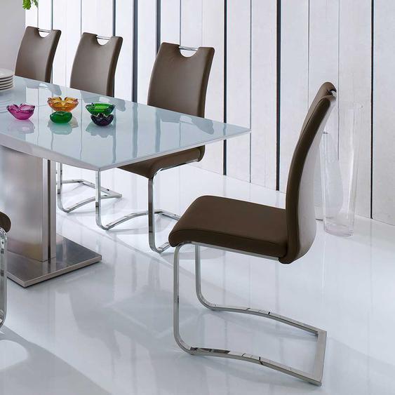 Küchenstuhl in Braun Stahl verchromt (4er Set)