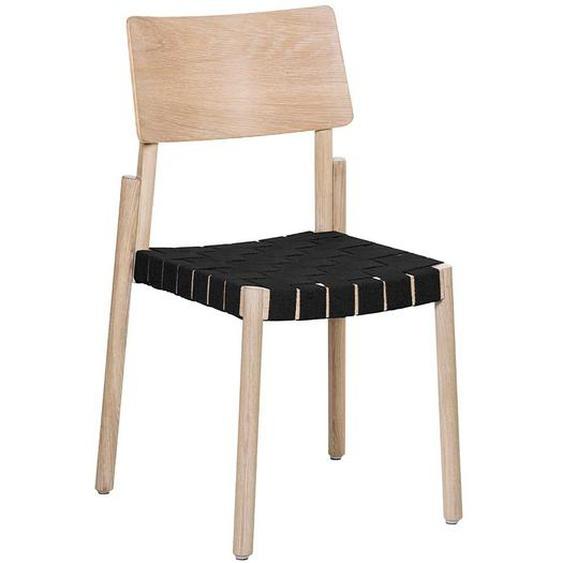 Küchenstuhl Set aus Esche Massivholz Webstoff Geflecht in Schwarz (2er Set)