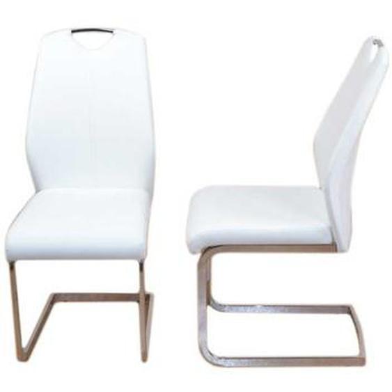 Küchenstuhl Set in Weiß Kunstleder Stahl (2er Set)