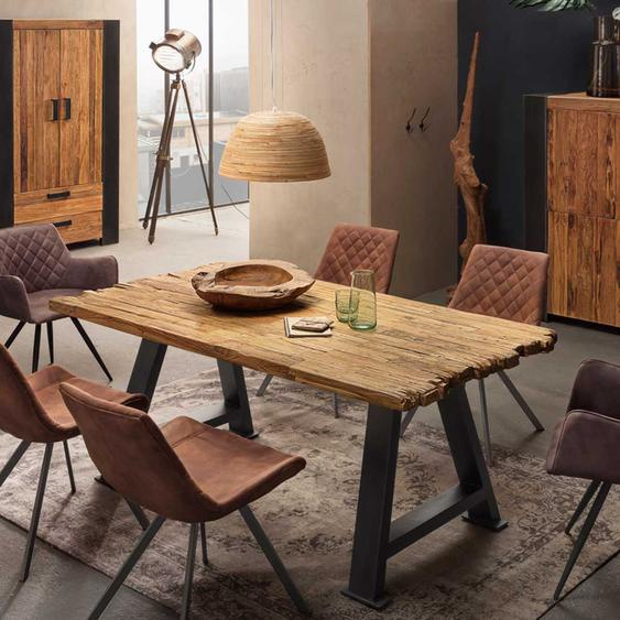 Küchentisch aus Teak Recylingholz 4-Fußgestell aus Metall