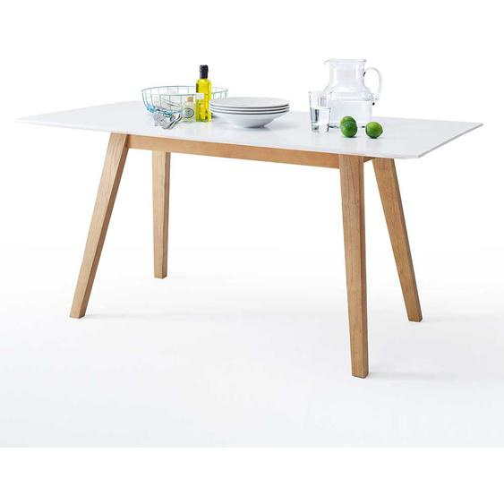 Küchentisch im Retro Design Weiß Eiche