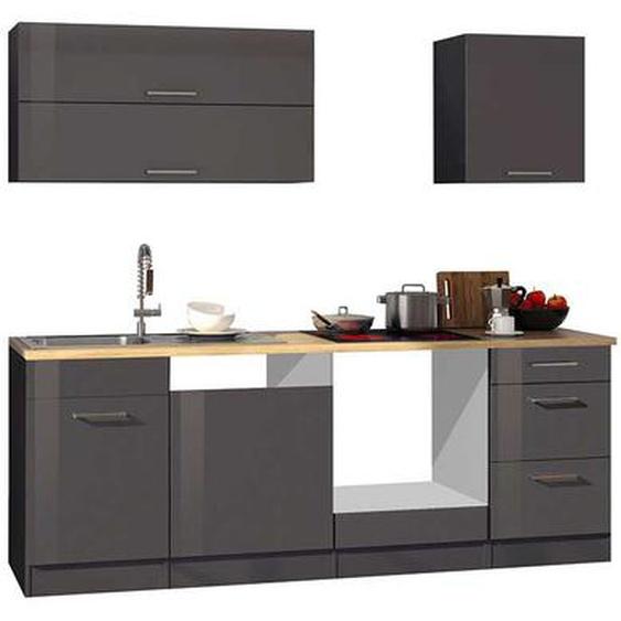 Küchenzeile in Grau hochglänzend 220 cm breit (6-teilig)