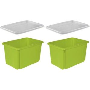 keeeper Stapelbox emil, (Set, 2 St.) B/H/T: 39 cm x 29,5 54,5 grün Körbe Boxen Regal- Ordnungssysteme Küche Ordnung