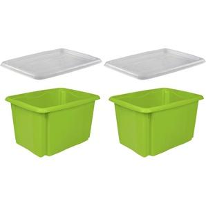 keeeper Stapelbox emil, (Set, 2 St.), mit Deckel, 44,5 x 34,5 27 cm, 30 Liter, 2er Set B/H/T: cm grün Körbe Boxen Regal- Ordnungssysteme Küche Ordnung