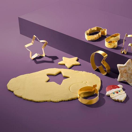 Keksausstecher-Set - Goldfarben - Edelstahl -