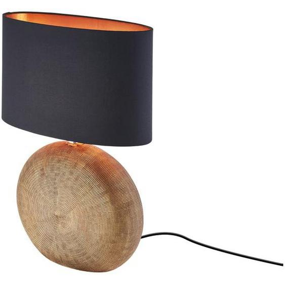 Keramik-Tischleuchte, 1-flammig, Schirm oval ¦ gold