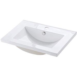 Keramik Waschbecken 61 cm SOLNA-56 glänzend weiß, B/H/T ca. 61/18/46 cm