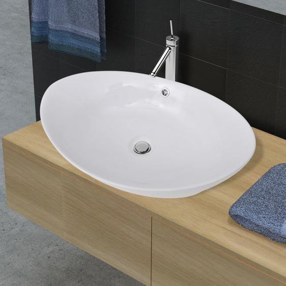 Keramik Waschbecken Keramikspülen Überlauf Oval 59 x 38,5 cm