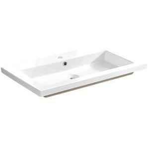 Keramik Waschtisch 80cm LUTON-56 glänzend weiß, B/H/T ca. 81/14/46 cm
