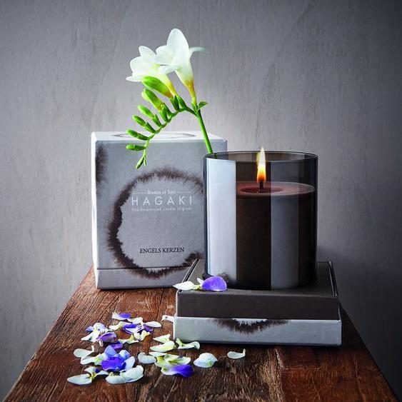 Kerze Hagaki Glas Holzdeckel Braun Breeze Of Taro Paraffinfrei