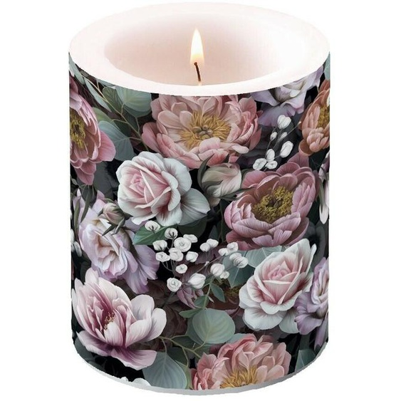 Kerze, Lampionkerze Vintage Flowers Schwarz 12cm By Ambiente