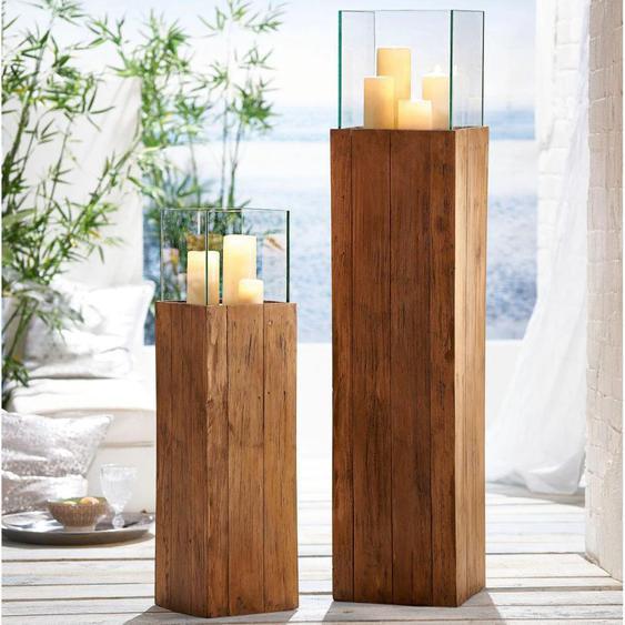 Kerzenhalter Woody 25x25x120 cm beige Kerzen Laternen Wohnaccessoires