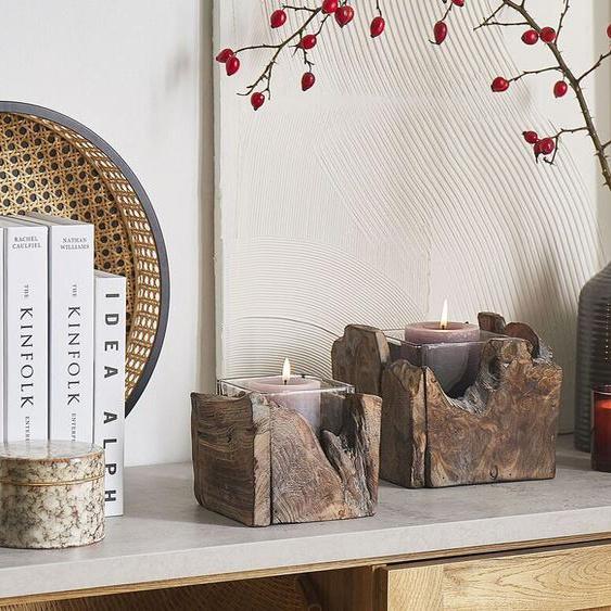 Kerzenständer zertifiziertes Holz dunkelbraun 2er Set PLATEROS