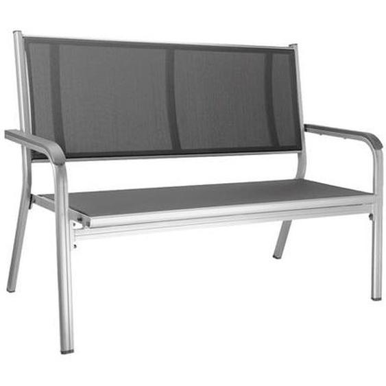 Kettler Basic Plus 2-Sitzer-Gartenbank Aluminium/Textilene Dunkelgrau Hellgrau