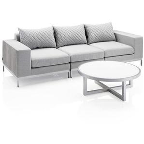 Kettler Ego Modular 3-Sitzersofa + Loungetisch Ø92cm Aluminium/Sunbrella Silber/Hellgrau Meliert