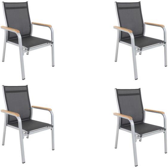 Kettler Granada 4er-Set Stapelsessel, silber/anthrazit, mit FSC Teakholz-Armlehnen, 0301205-0100