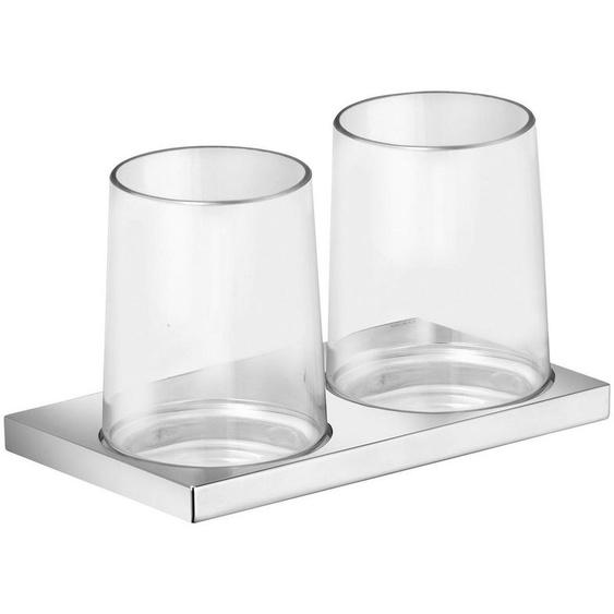 Keuco Zahnputzbecher »Edition 11«, (2-St), mit 2 Echtkristall-Gläsern, Halterung verchromt
