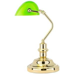 KHG Banker-Lampe messing mit grünem Schirm - gold - 27 cm - 38 cm   Möbel Kraft