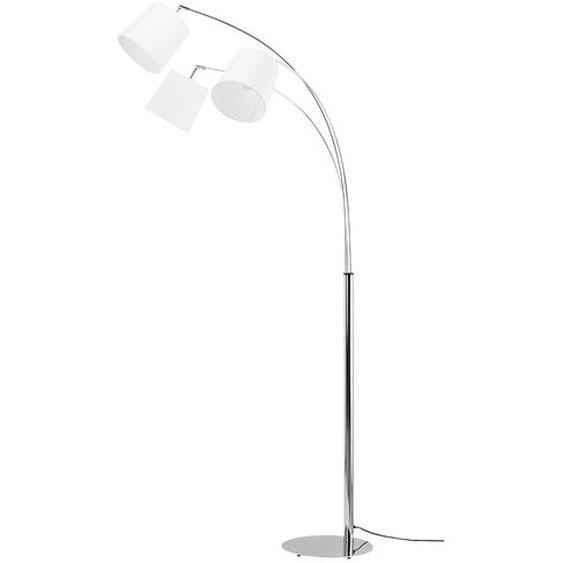 KHG Bogenleuchte, 3-flammig, chrom mit weißem Schirmen - silber   Möbel Kraft