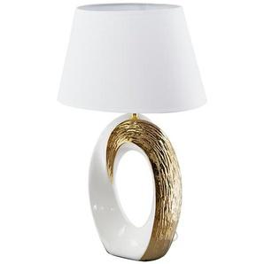 KHG Keramik-Tischleuchte, 1-flammig, goldfarben/weiß ¦ gold