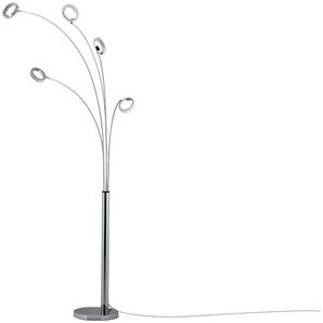 KHG LED-Bogenleuchte, 5-flammig mit Acrylringen ¦ silber ¦ Maße (cm): B: 35 H: 220
