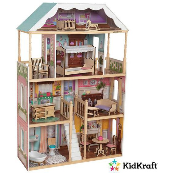 Kidkraft Puppenhaus »Charlotte«, klassisches Design, 14-teiliges Möbelset, 4 Ebenen