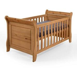 Kiefer Babybett massiv gebeizt und geölt Umbauseiten