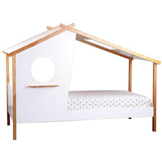 Kinder Einzelbett in Haus Optik Kiefer teilmassiv