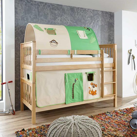 Kinder Etagenbett aus Buche Massivholz Tunnel und Vorhang im Dschungel Design