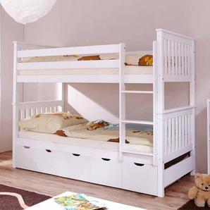 Kinder Etagenbett mit Schubladen Weiß Kiefer massiv