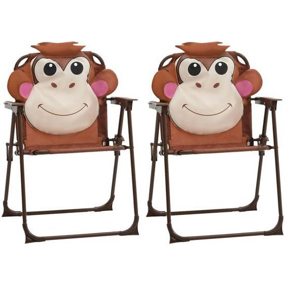 Kinder-Gartenstühle 2 Stk. Braun Stoff