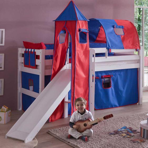 Kinder-Hochbett in Rot-Blau Massivholz